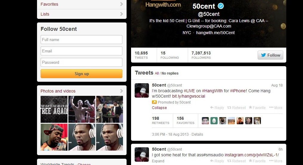 50 cent on twitter