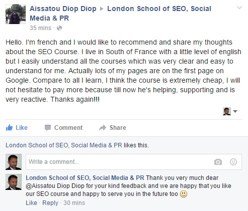 Feedback SEO Course Aissatou Diop from France