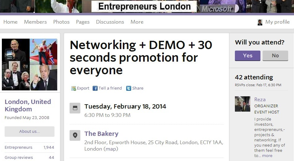 Networking events Meetup groups