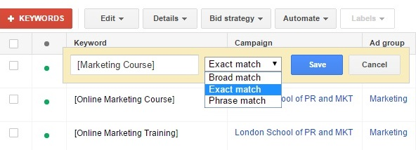 Google adwords -how to choose EXACT match keyword