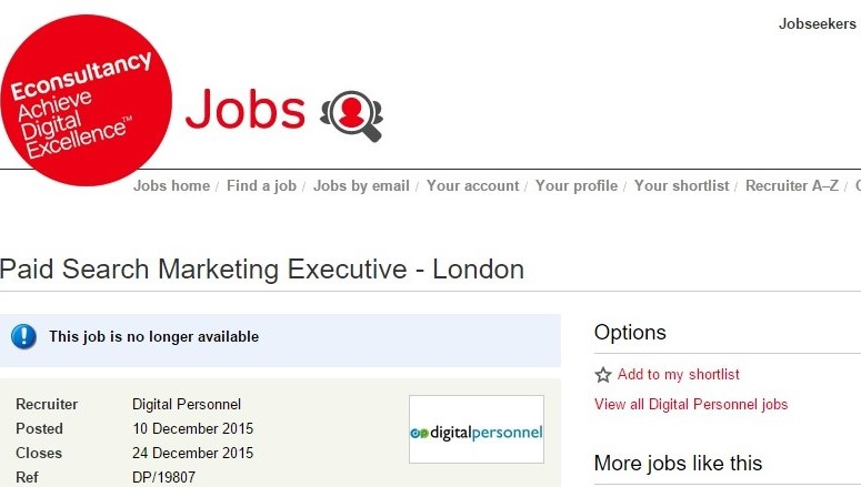 Gogle News showing job posting results in contrast to its policies