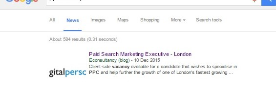 Google News PPC vacancy job posting