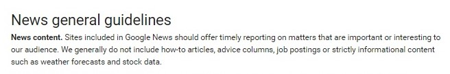 Google news policy of Job posting